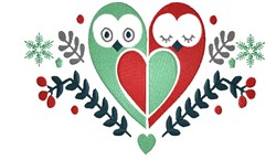 Valentines Day Owls embroidery design