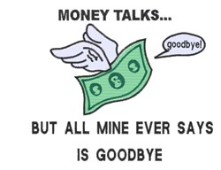 Money Talks embroidery design