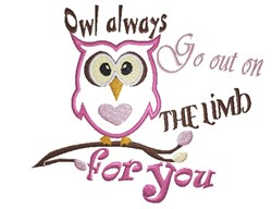 Valentines Day Owl embroidery design