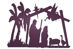 Nativity Silhouette embroidery design