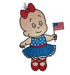 Girl With Flag embroidery design
