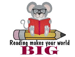Reading Makes The World Big embroidery design