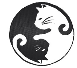 Cat Ying Yang embroidery design