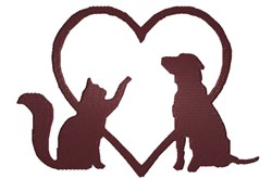 Dog and Cat Silhouette embroidery design