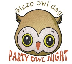 Party Owl Night embroidery design
