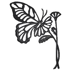 Butterfly & Flower Outline embroidery design