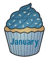 January Birthday Cupcake embroidery design