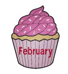 February Birthday Cupcake embroidery design