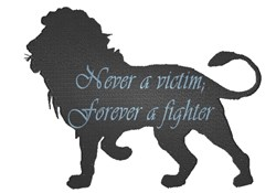 Lion silhouette with saying embroidery design