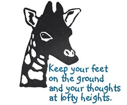 Giraffe silhouette Keep your feet on the ground embroidery design