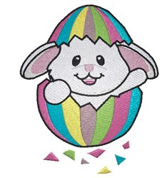 Easter bunny in egg shell embroidery design