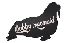 Walrus silhouette Chubby Mermaid embroidery design