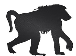 Baboon silhouette embroidery design