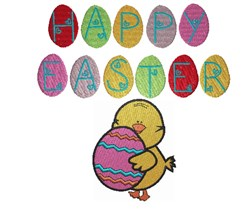 Happy Easter Eggs and chick embroidery design