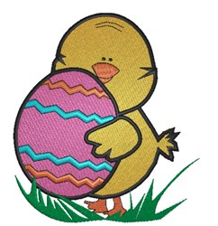 Easter  chick with egg embroidery design