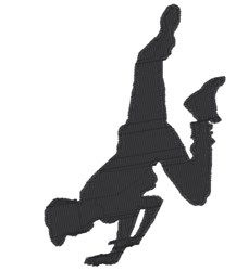 Boy dancer silhouette embroidery design