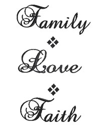 Family Love Faith embroidery design