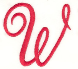 Fancy Monogram W embroidery design