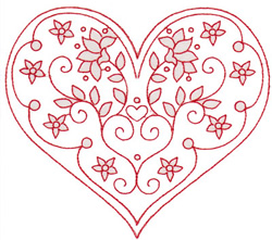 Flower Heart Outline embroidery design