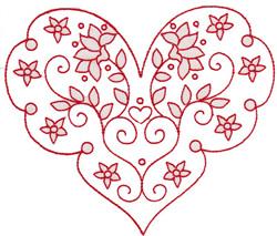 Ruffle Heart embroidery design