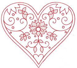 Nature Heart embroidery design