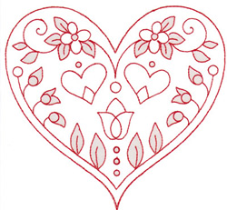 Spring Heart embroidery design
