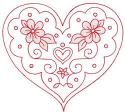 Flowery Heart embroidery design