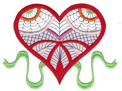 Heart and Ribbon embroidery design