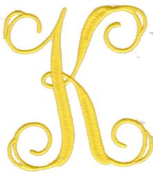 """Elegant 4"""" K embroidery design"""