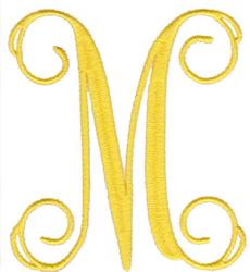 """Elegant 4"""" M embroidery design"""