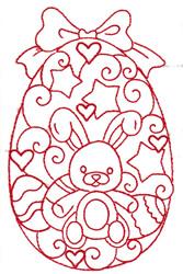 Bunny Redwork Egg embroidery design