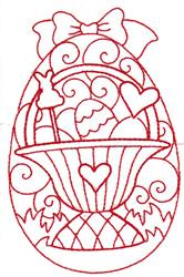 Redwork Basket Egg embroidery design