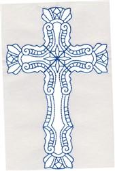 Elegant Bluework Cross embroidery design