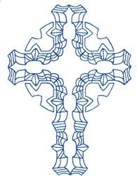 Geometric Bluework Cross embroidery design