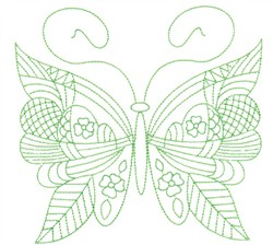 Leafy Butterfly Greenwork embroidery design