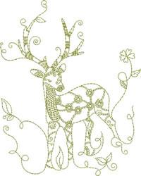 Redwork Reindeer embroidery design