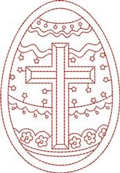 Redwork Cross Egg embroidery design