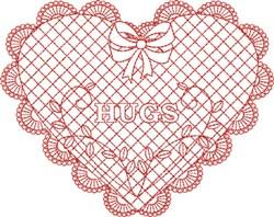 Redwork Hugs Heart embroidery design