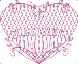 Redwork Love Heart embroidery design