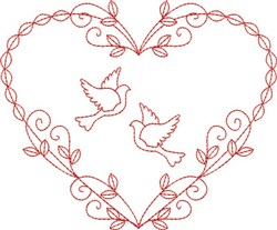 Redwork Doves Heart embroidery design