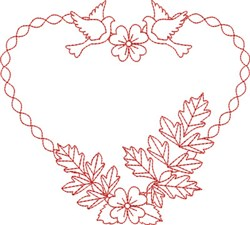 Doves & Flowers Heart embroidery design