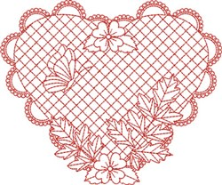 Redwork Butterfly Heart embroidery design