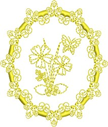 Butterfly & Flowers Oval embroidery design