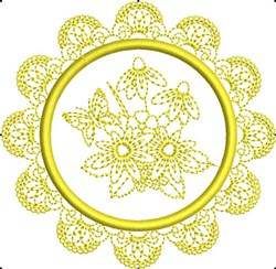 Butterfly Circle Frame embroidery design