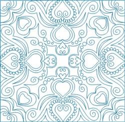 Swirly Hearts Block embroidery design