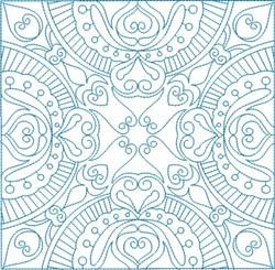Swirly Hearts Square embroidery design