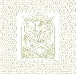 Religious Dove Block embroidery design
