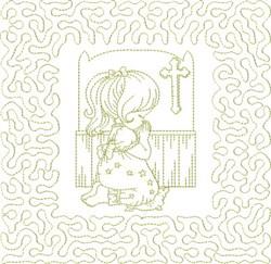 Religious Girl Praying embroidery design