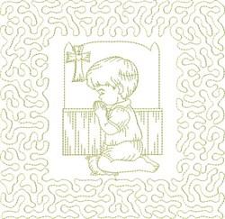 Religious Boy Praying embroidery design
