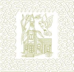 Religious Chapel Block embroidery design